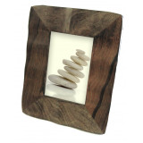 Wood Carved Picture Frame with Glass Insert