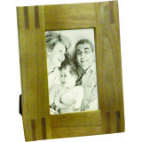 Wood Striped Corner Picture Frame with Glass Insert