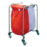 Laundry Cart Double with Red and White Lids