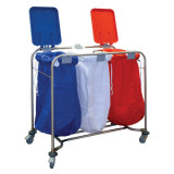 Laundry Cart Treble with Red White and Blue Lids