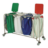 Laundry Cart with Red White Blue and Green Lids